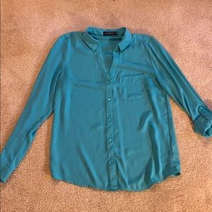 Robins Egg Blue Button Up Blouse
